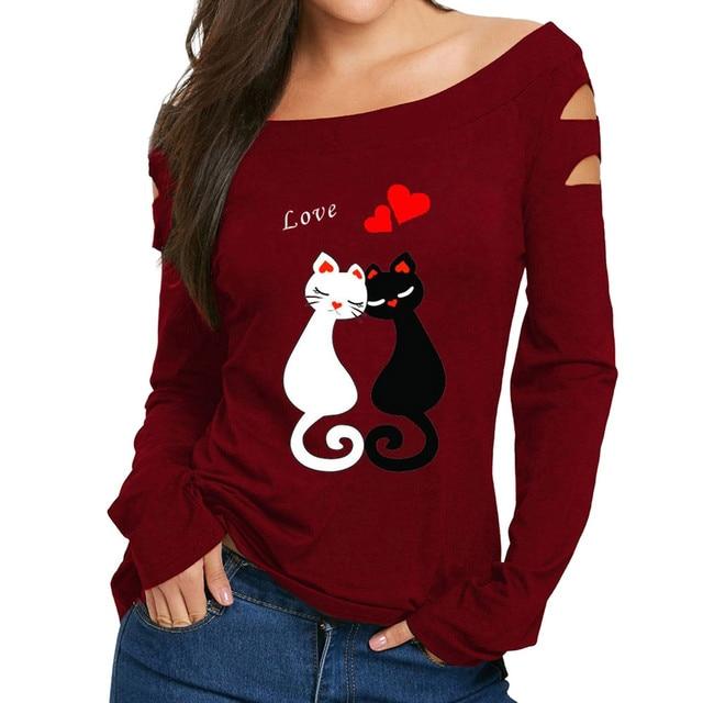 חולצות נשים 2018 אהבת חתולי הדפסה ארוך שרוול נשים חולצת טי מקרית כבוי כתף חולצות סקסי נקבה חולצות