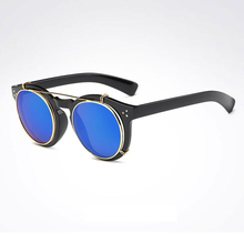 New 2019 Fashion Punk Rock Unisex Clip on Sunglasses Women Men Retro Myopia cover Lens Eyeglasses Frame Rivets Design Glasses F3 retro women s satchel with metal and rivets design