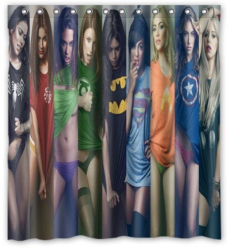 WARM TOUR Super Hero And Sexy Girls Fashion Shower Curtain Polyester Curtain  Hotel/Bathroom With
