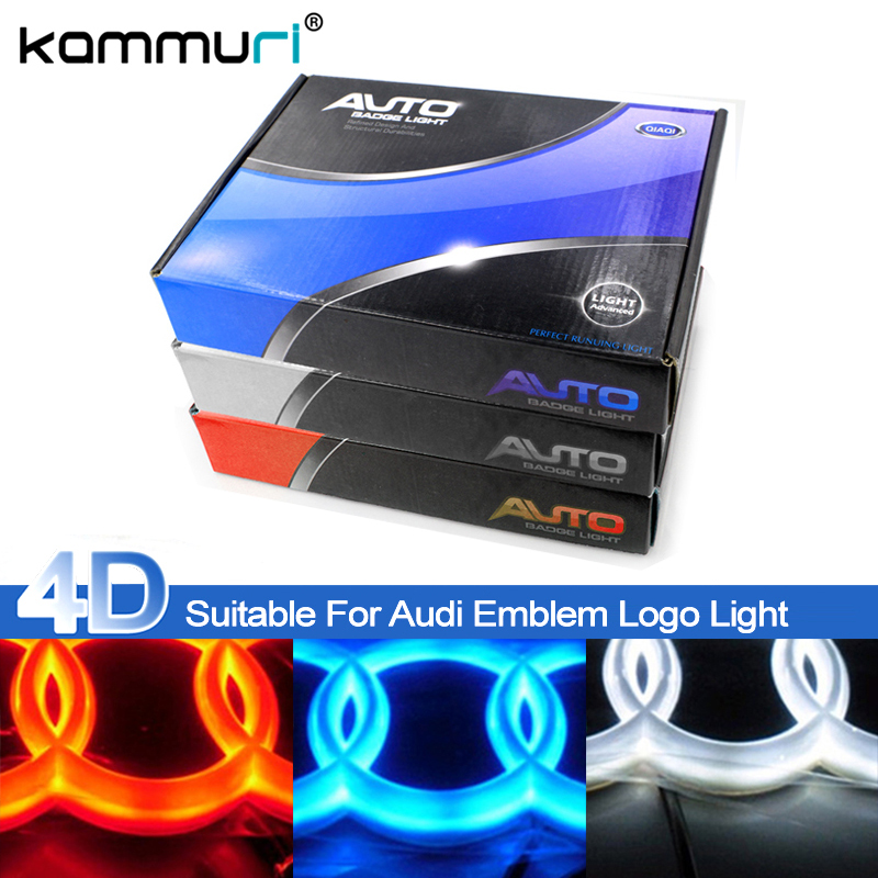 KAMMURI Car Styling 4D Cold light Behind Emblem Light for Audi A1 A3 A4 A5 A6 A7 Q3 Q5 Q7 TT R8 Behind Rear Emblem Logo Light 2pieces set hella car horn snail type for audi a1 a3 a4 a6 a7 a8 q3 q5 q7 r8 tt tc16s