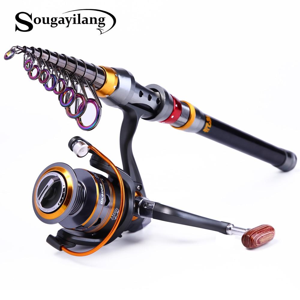 Sougayilang 1.8-3.6 m varilla telescópica y 10 + 1bb carrete conjunto y Pesca varilla de 99% materiales de carbono carpa Pesca Conjuntos de varillas de pesca