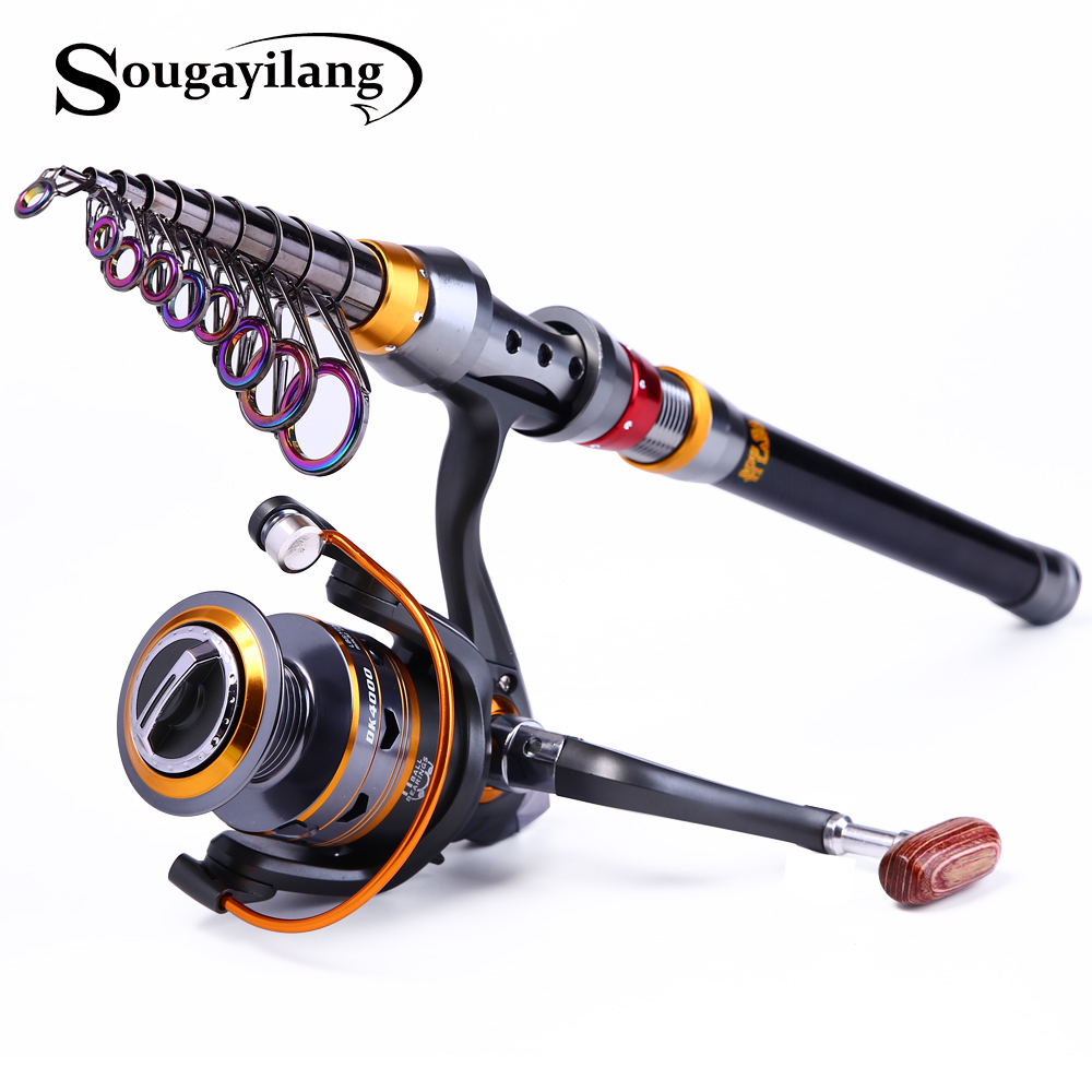 Sougayilang Rod telescopic de 1,8-3,6 m și set de tambur 10 + 1BB și tijă de pescuit din 99% din materiale de carbon Carp Fishing Rod Combo De Pesca