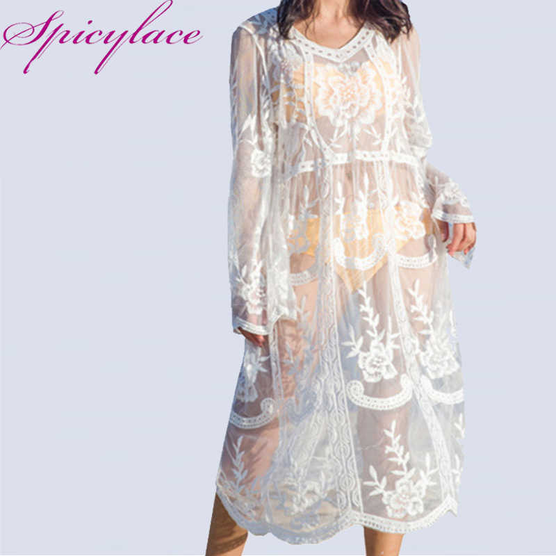 313861aeaa25d Spicylace Women Loose Beach Long White Dress Elegant Half Sleeve O Neck  Lace Floral Crochet Hollow