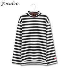 Focal20 Harajuku Letter Embroidery Women Stripes T-shirt Back Zipper Mock Neck Long Sleeve Striped T Shirt Tee Top Streetwear