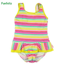 Funfeliz Girls swimwear Floral Striped Print one piece swimsuit with skirt girls Kids Bikini Baby Girl Bathing Suits