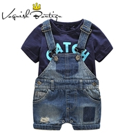 Bebes/Одежда для новорожденных, хлопковая Футболка с буквенным принтом и джинсовые комбинезоны, одежда для маленьких мальчиков, летняя детска...