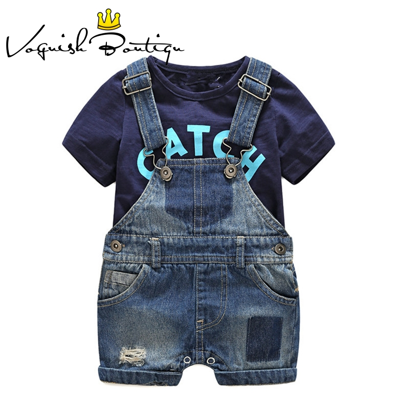 Image 2 - Bebes newborn clothes cotton letter printed t shirt with demin overalls baby boys clothes summer children clothing-in Clothing Sets from Mother & Kids