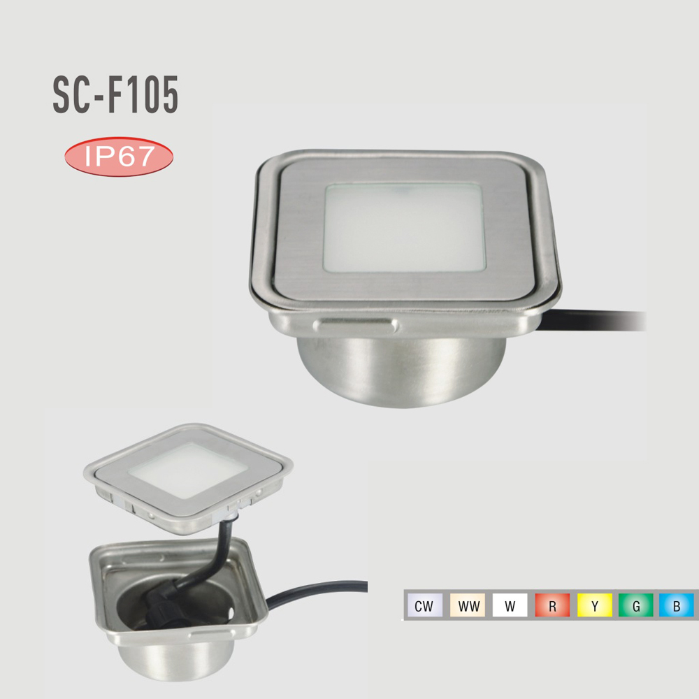 0.6W Stainless Steel LED Inground Lamp DC12V Outdoor Stair Light with Insert Box Set of 20(R G B Y WW CW W RGB)