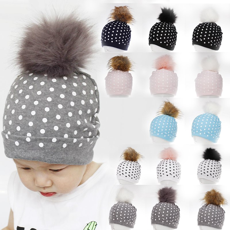Hat Autumn Children's-Hats Fox-Fur-Ball Knit Winter Baby Fashion New Hot Dot And Cotton