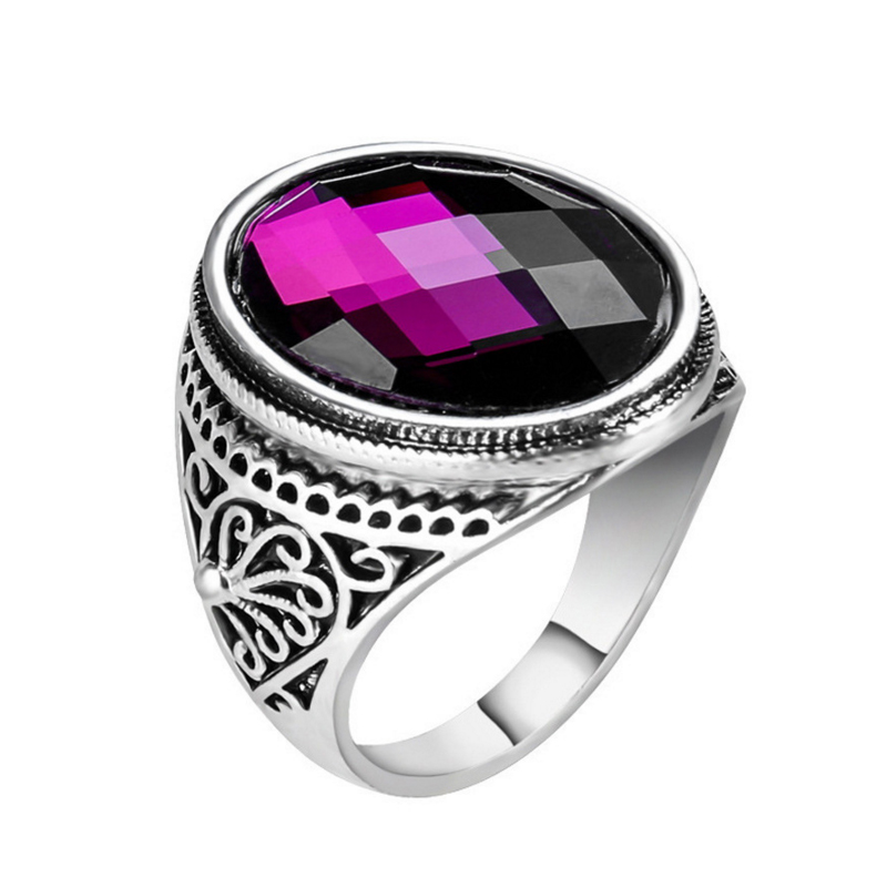 AliExpress Hot Sale Stained Glass Ring European And American Luxury Multi-Faceted Purple Ring
