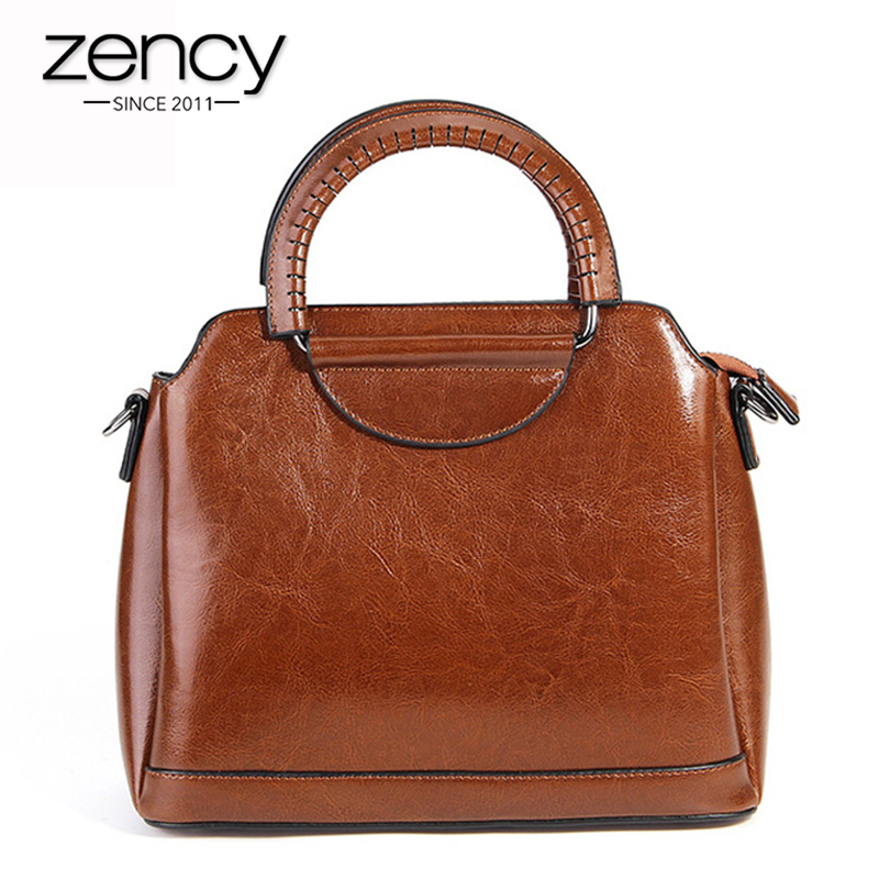 Zency 6 Colors Elegant Women Handbag 100% Genuine Leather Casual Tote Fashion Lady Shoulder Messenger Office Bags Black Brown