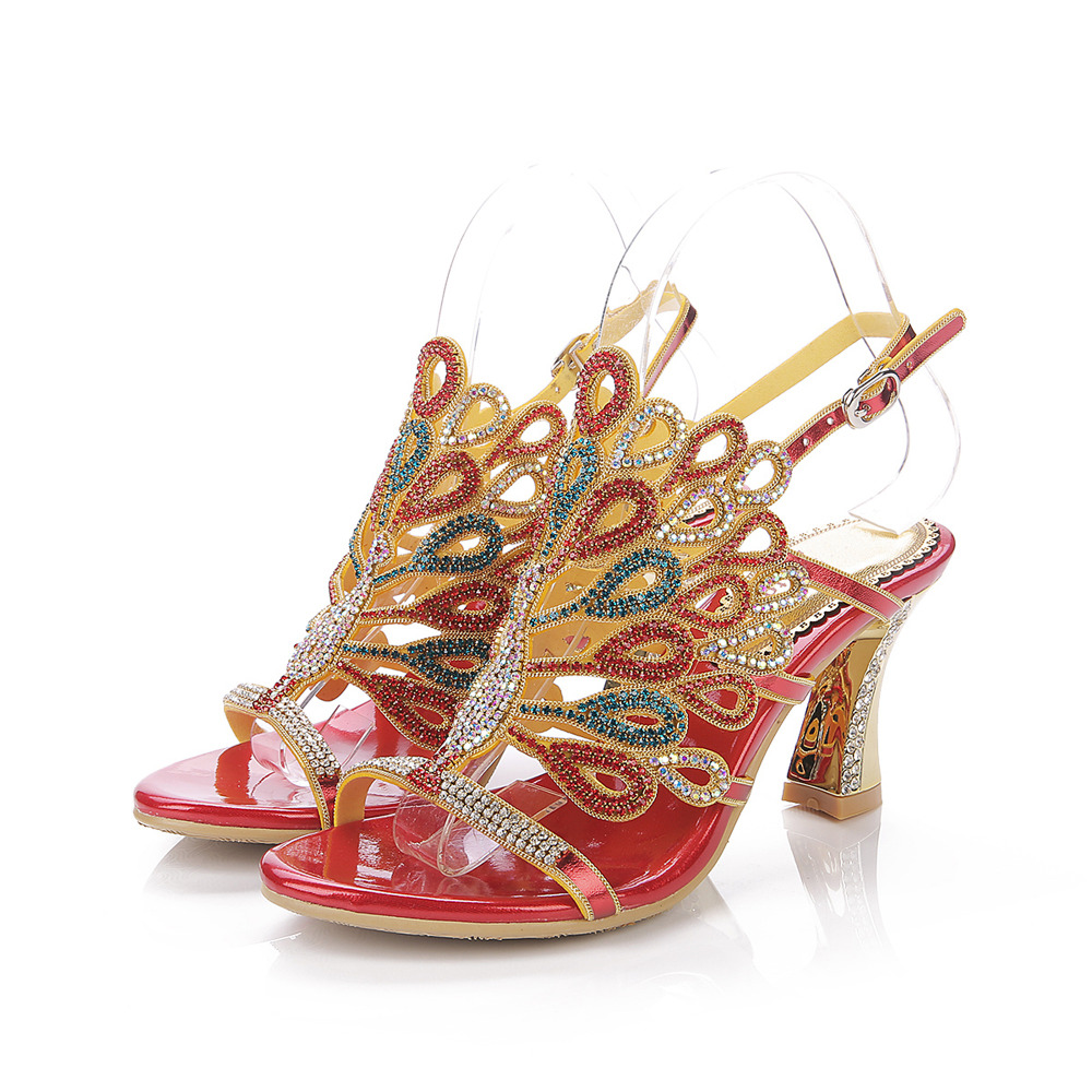 Women Sandals,2017 New Design Hot Fashion and Sexy Wedding and Evening Party dress Rhinestone big size 33-44 ,Party with sandal many stars sexy women wedding evening lace dress