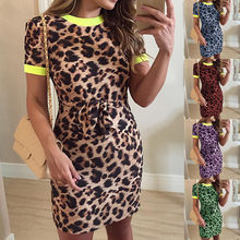 2019 Nieuwe Casual Luipaard Print Knie Lengte Jurk Womens Fashion Korte Mouw Dress O-hals Slim Fit Jumper Jurk elbise vadim(China)