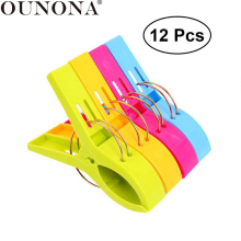 OUNONA 12pcs Plastic Clothespins Laundry Clothes Clips Beach Towel Clips Bright Color Clothes Pegs Hangers for Clothes