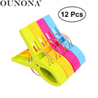 OUNONA 12pcs Plastic Clothespins Laundry Clothes Pins Beach Towel Clips Bright Color Clothes Pegs Jumbo Size for Pool Loungers