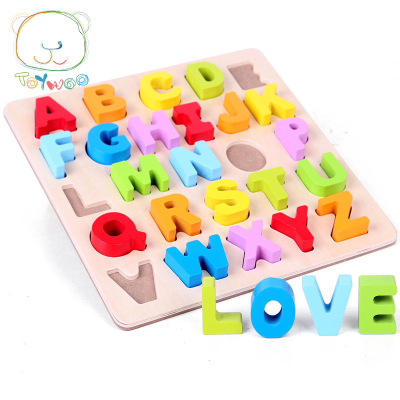Kid Early Educational Leksaker Baby Hand Grasp Trä Pussel Toy Alphabet And Digit Learning Utbildning Child Wood Jigsaw Toy