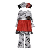 free ship girls boutique clothing children winter outfits  kidswear floral clothes print ruffle pant outfits with headband F073