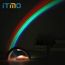 ФОТО ITimo Home Bedroom Decoration Colorful Rainbow Night Light Novelty Sky Rainbow Projector Lamp Baby Kids  Romantic LED Lights