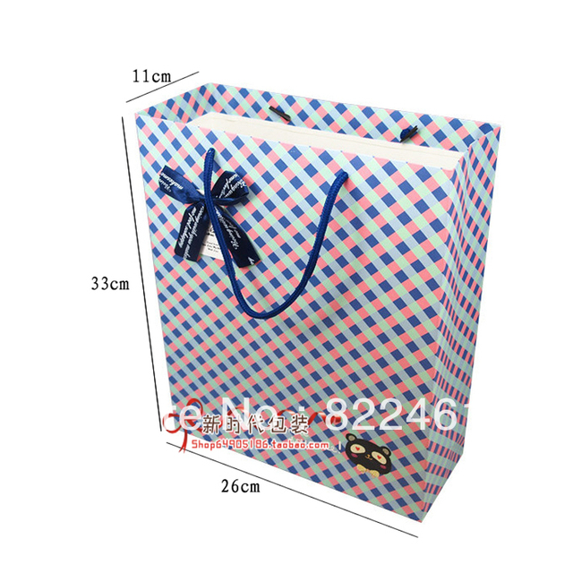 33*26*11CM New high-grade grid vertical version of the gift bag gift paper bag large wholesale