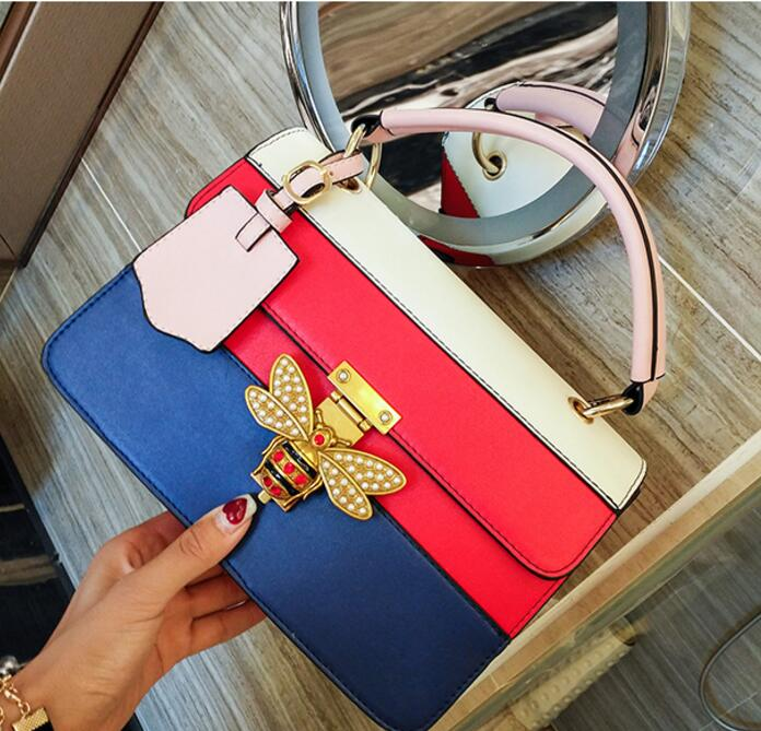 New Fashion Luxury famous designer PU bee lock women bag casual lady shoulder bags flap handbagNew Fashion Luxury famous designer PU bee lock women bag casual lady shoulder bags flap handbag