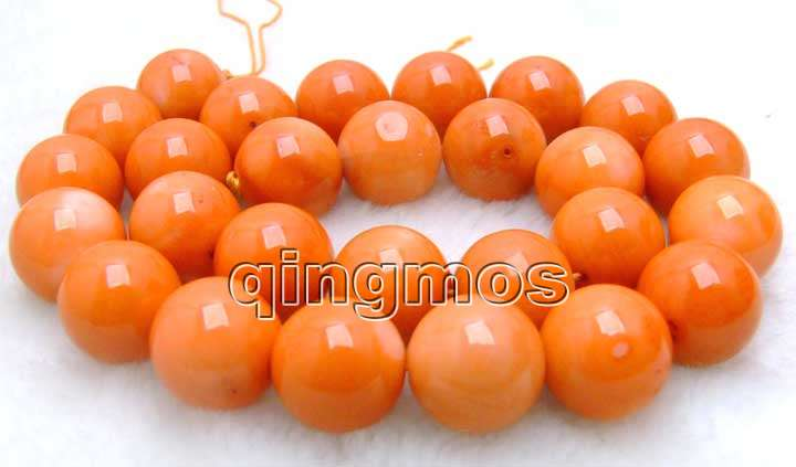 SALE Big 15-16mm high quality 100% round Orange nature Coral strand 15
