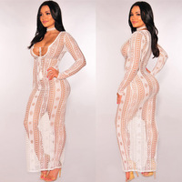 MAYFULL new quality women sexy sheer hollow out knitted long sleeve dress nightclub evening party leisure dress brand dresses