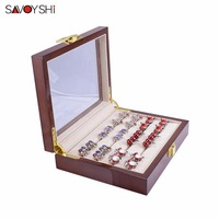 SAVOYSHI Luxury Glass Box Storage 12pairs Capacity ring box size 185*150*46mm High Quality Painted Wooden Jewelry Box Authentic