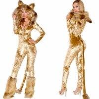 Deluxe Lion animal cosplay costume Halloween women Jumpsuits adult animal costume BodySuit