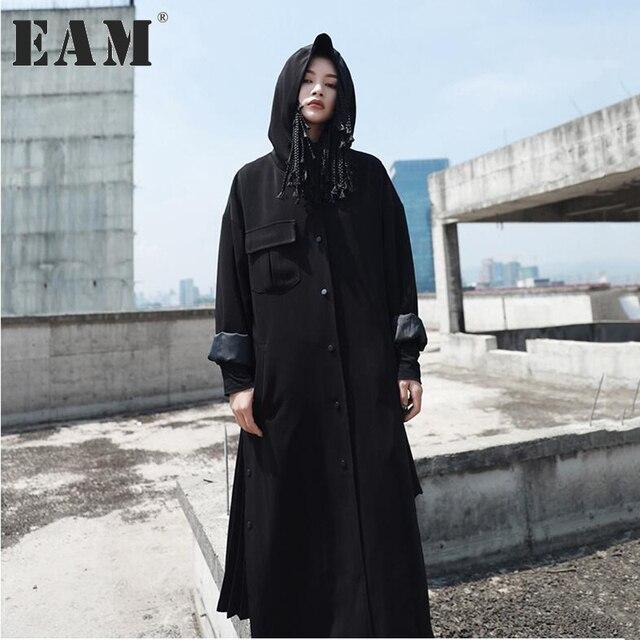 [EAM] 2018 spring And  Fashion New Side Vent Hooded Long Type Windbreaker Loose Black Bat Sleeved Coat Women YA35101