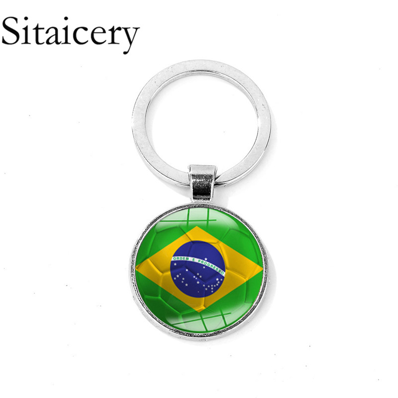 Sitaicery Fashion Sports Keychain Boys Metal Key Ring Football Pendant Boyfriend Gift Keychains For Men Jewelry Chaveiro Trinket in Key Chains from Jewelry Accessories