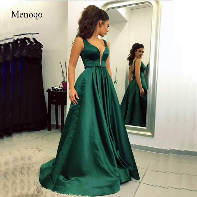 Elegant 2019 Royal Blue   Evening     Dresses   Long with Pockets A-Line Gown Double V-Back Satin Formal   Evening   Party   Dress   for Women