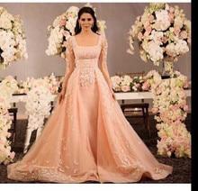2015 Elegant Orange Appliqued Beaded Long Sleeve Floor Length Prom Dresses Evening Dress Vestido De Festa