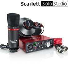 Focusrite Scarlett Solo Studio 2-го поколения USB звуковая карта usb аудио интерфейс+ CM25 конденсаторный микрофон+ гарнитура HP60