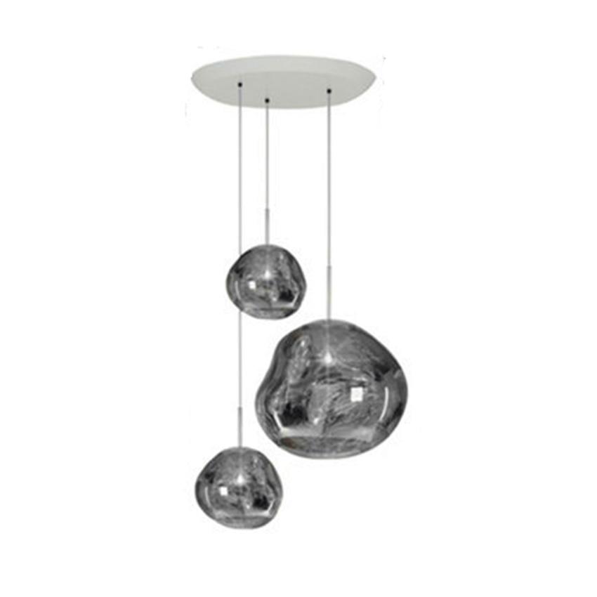 Modern LED Pendant Lamps DIXON Melt Pendant Lights Glass Lava Irregular Silver Gold Copper Mirror Hang LampLiving Room Lighting