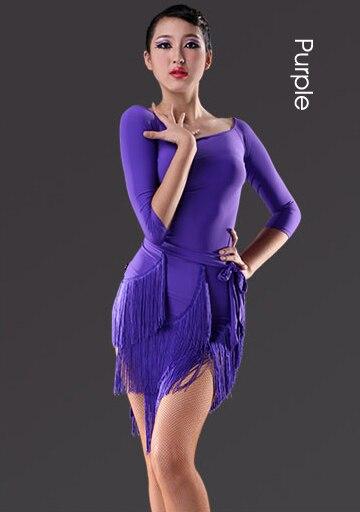 Latin Dance Dress Sexy Leopard Tassels Girls Fringe Ballroom Skirt Tango Dress salsa robe de danse latine filles danza latino