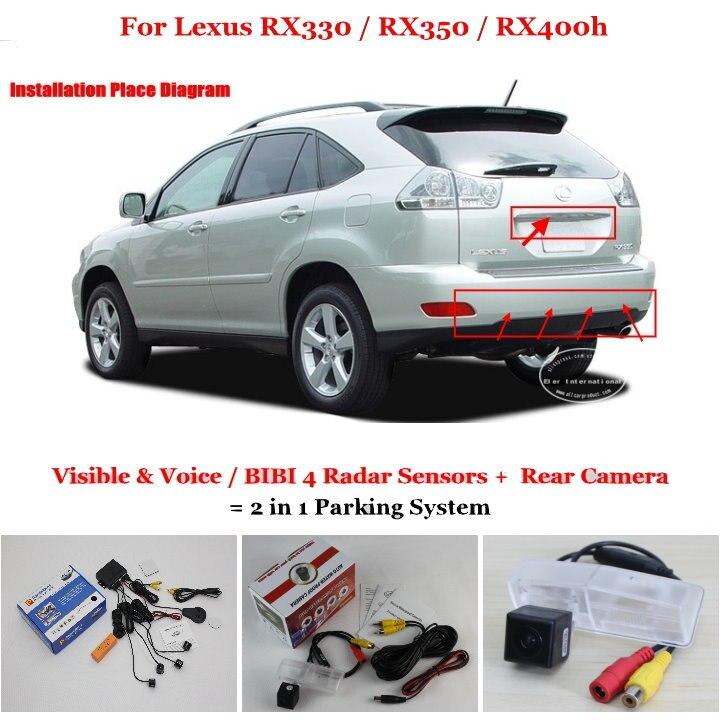 Liislee Car Parking Sensors Rear View Camera 2 in 1 Visual BIBI Alarm Parking System For