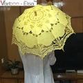 Nova Chegada de Moda Rendas Tecido Punho de Madeira Do Guarda-chuva de Casamento Sol Rendas Guarda-chuva Do Vintage Da Dama de Honra Nupcial Do Partido Decoracion Boda