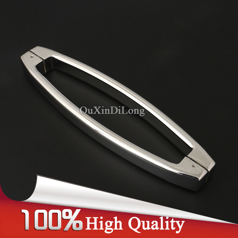 Luxury 304 Stainless Steel Frameless Shower Bathroom Glass Door Handles Pull / Push Handles Glass Mount Chrome Finished top designed 1pair frameless shower bathroom glass door handles o shape pull push handles glass mount chrome finished