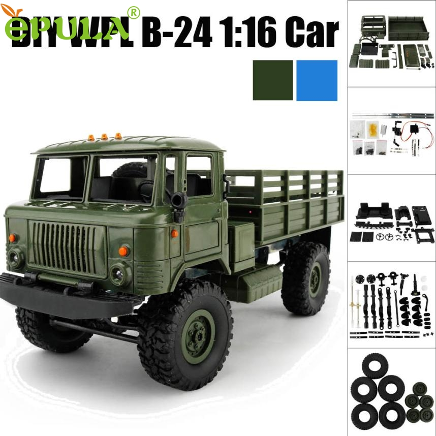 remote control car Four drive climbs a car WPL B-24 1:16 4WD RC DIY Assemble Military Truck Control Car Toy gift db7 p30 remote control 1 32 detachable rc trailer truck toy with light and sounds car
