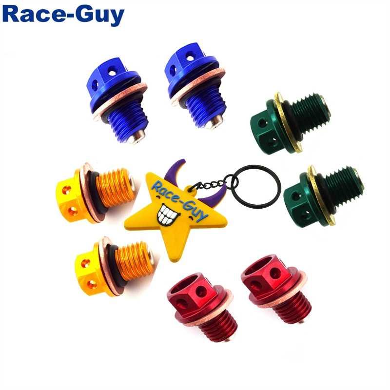 5 Race-Guy Black M12 x 1.50mm Pitch Magnetic Oil Drain Bolt Plug Screw for 50cc 70cc 90cc 110cc 125cc Pit Dirt Monkey Bike ATV Quad CRF50 XR50 ATC70