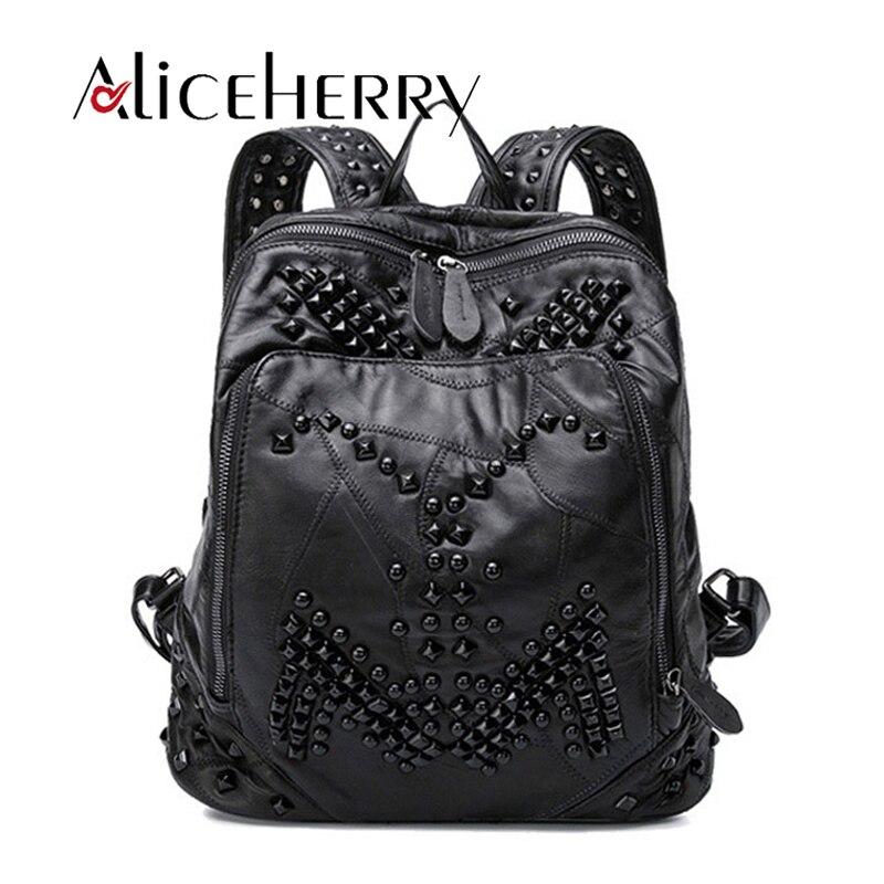 Mode femmes en cuir véritable sac à dos rivet dame en cuir véritable vintage noir sac à dos fille en peau de mouton en cuir cartable