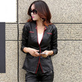 2016 Autumn New Women Leather Jackets Fashion Back Split Three Buttons Leather Blazer Outerwear Motorcycle Leather Coat