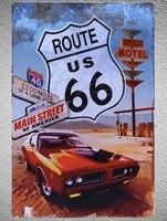 Route 66 Challenger американский автомобиль мотель магазин кофе магазин жестяные таблички стена человек пещера Украшение Искусство ретро, ВИНТАЖНЫ...