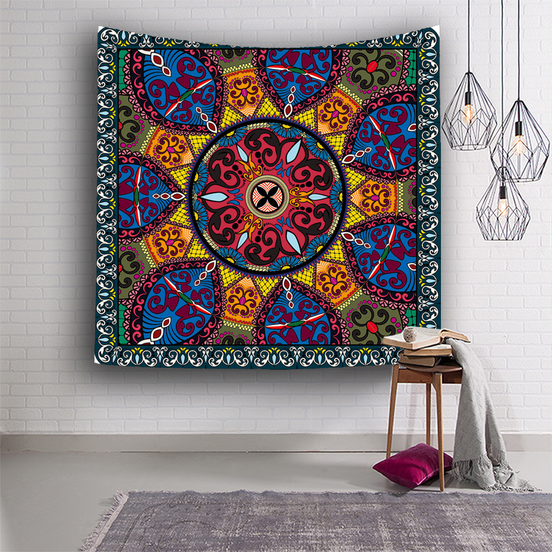 Flowers Tapestries Colorful Psychedelic Indian Tapestry Wall Hanging Printed Decoration Wall Blanket Beach Towel Square scarf in Tapestry from Home Garden