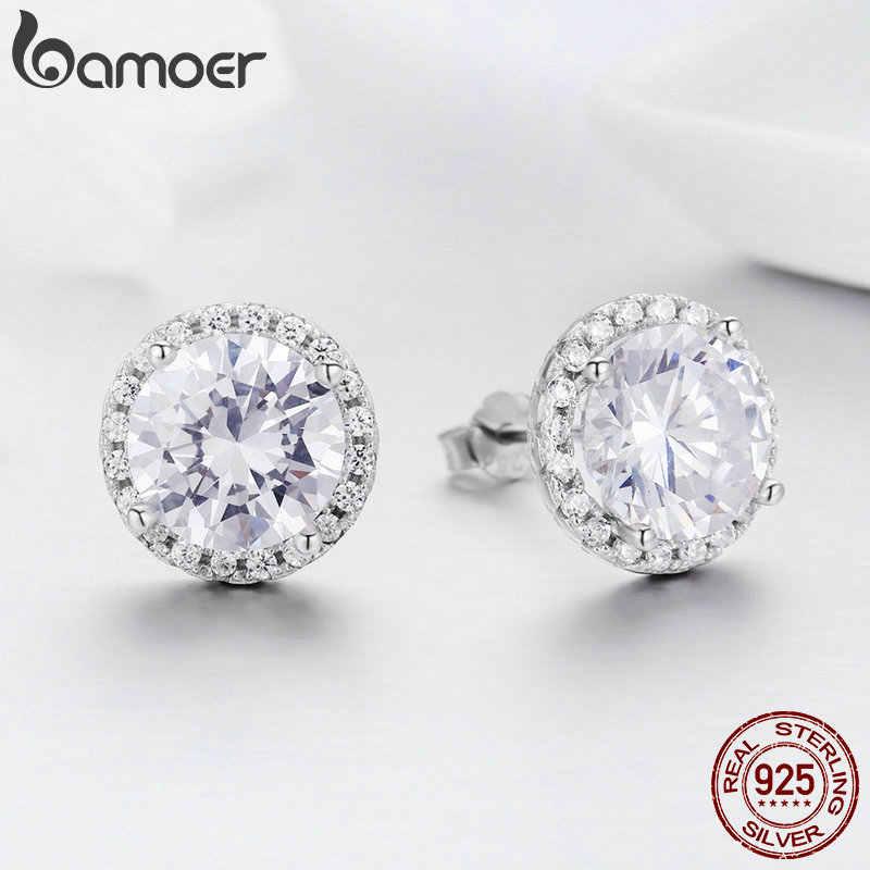 Bamoer authentic 100% 925 prata esterlina deslumbrante claro cz pequenos brincos do parafuso prisioneiro para o casamento feminino jóias de noivado sce358