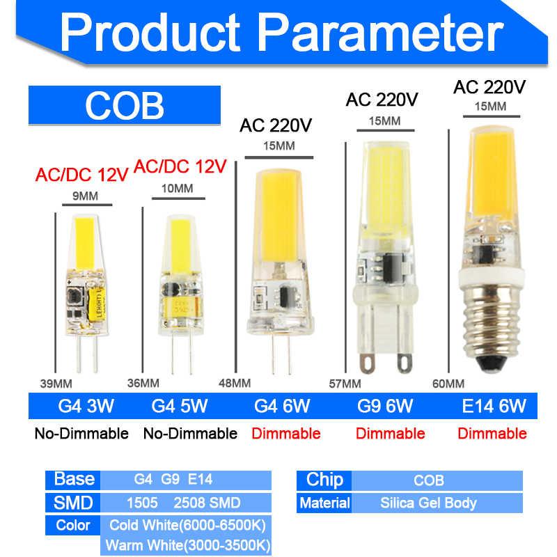 COB Dimmable g4 led bulb g9 led light bulb e14 Lamp bulb AC/DC 12V 220V 3W 5W 6W LED G4 G9 Lamp replace Halogen Lampada 1pc/5pcs