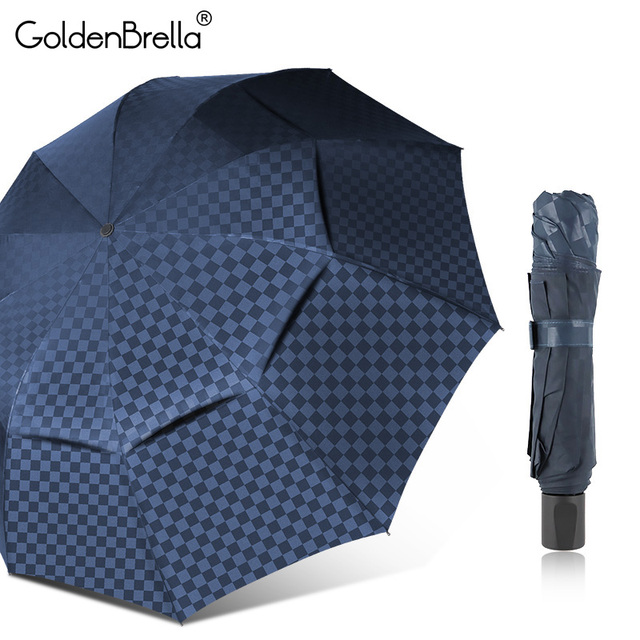 Double Layer Grid Big Umbrella Rain Women 4Folding 10Ribs Windproof Business Men Sun Umbrella Family Travel Paraguas Parasol