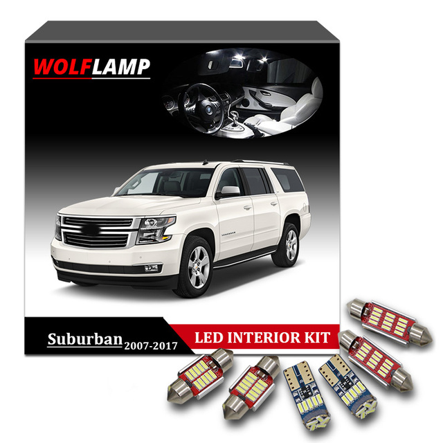Wolflamp 14pcs Super Bright Ice Blue Led Interior Car Lights For 2007 2017 Chevrolet Suburban Tahoe Map Light License Plate Bulb