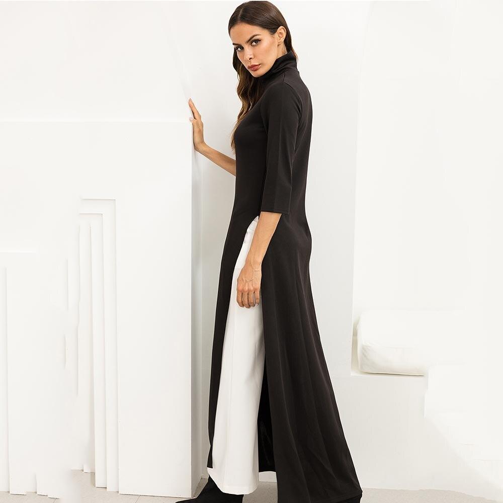 US $31.35 |Plus Size Women Fashion Maxi Dress Asymmetrical Western Style  Turtleneck Pullover Stretchy Black Knitting Oversize Long Dress-in Dresses  ...