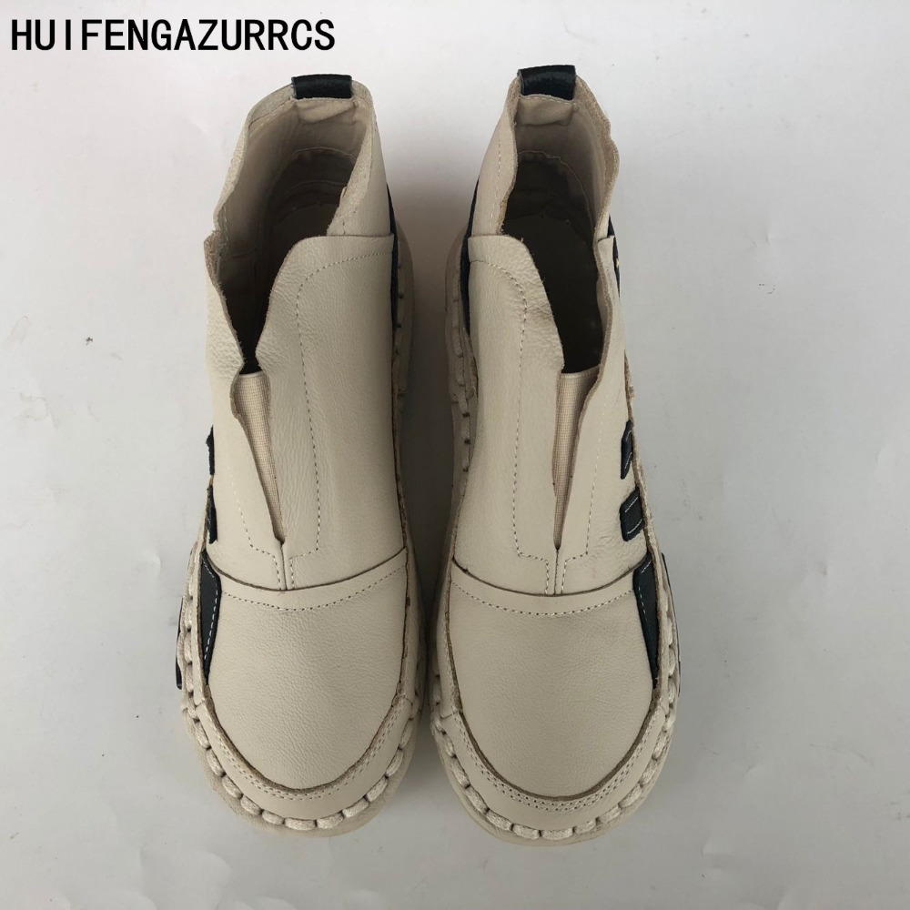 HUIFENGAZURRCS-New Genuine leather shoes,Pure handmade ankle boot,The retro art mori girl shoes,Fashion fringed boots ,3 color huifengazurrcs new genuine leather